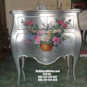 Nakas  Kayu Mahoni Flowers Silver