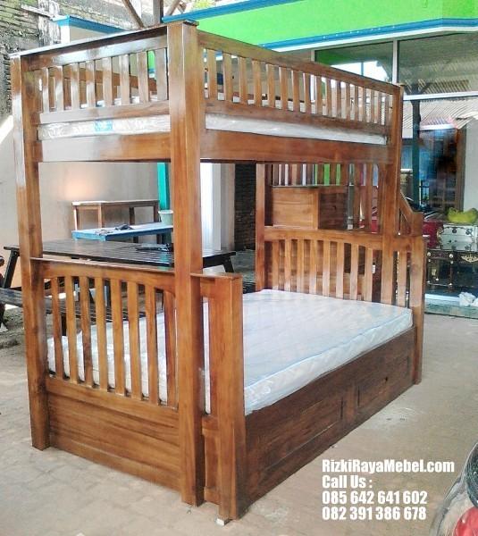Tempat Tidur Anak Tingkat Kayu Jati RRM