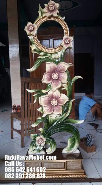 Jam Hias Ukiran Terbaru Bunga Melati Anggun Rizki Raya Mebel toko online furniture Jepara berkualitas 085642641602