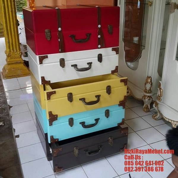 Luggage Look Cabinet Drawer Rizki Raya Mebel toko online furniture Jepara berkualitas Call : 085642641602