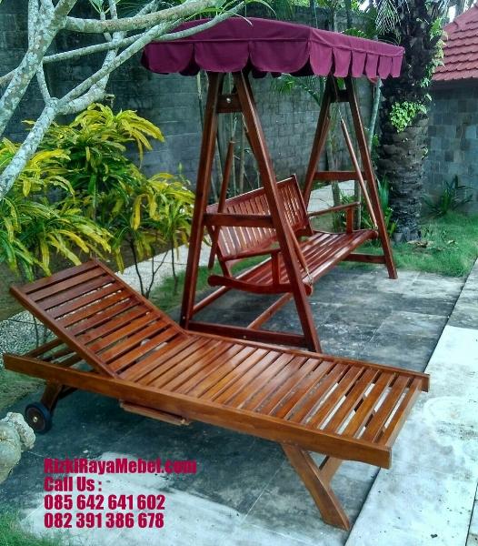 Lounger Kolam Renang Kayu Jati RRM 417
