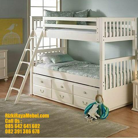Tempat Tidur Anak Tingkat Minimalis Putih RRM