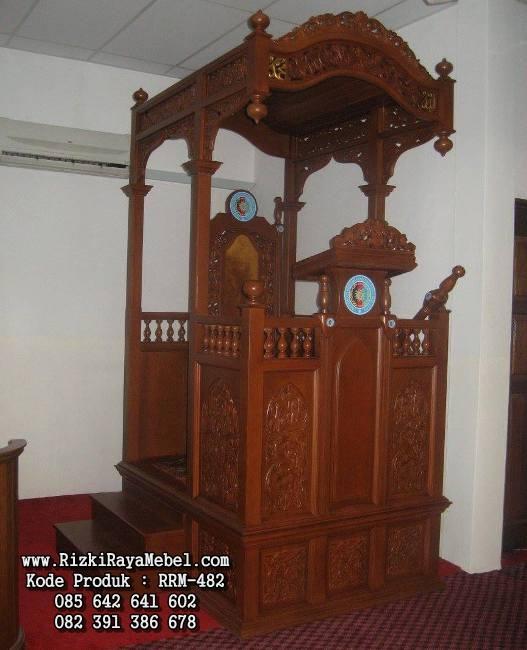 Mimbar Masjid Besar Kayu Jati RRM-482