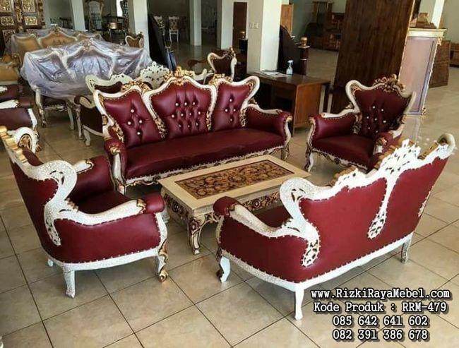 Set Kursi Tamu Jati Mewah Sofa Terbaru RRM-479