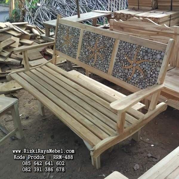 Kursi Bangku Panjang Ornamen Ranting RRM-488
