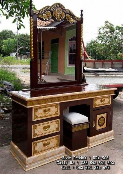 Meja Rias Ukiran Tiara Mawar Marmer RRM-506