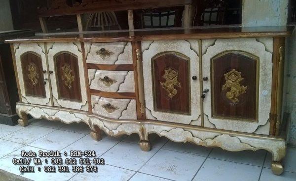 Bufet Jati Ukiran Mawar Warna Marmer RRM-524