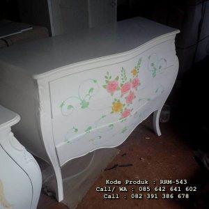 Nakas Klasik Putih Lukis Bunga