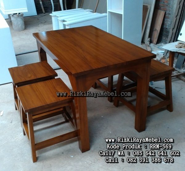 Set Meja Makan Simple Kayu Jati