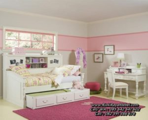 Set Kamar Anak Kayu Warna Putih