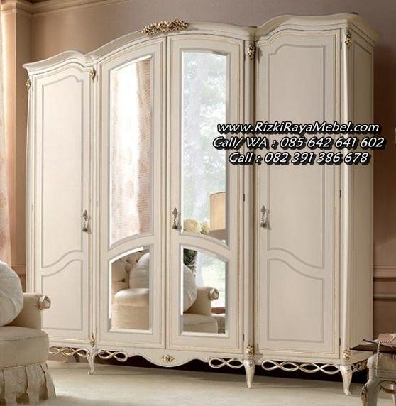 Lemari Pakaian Ukiran Klasik Putih Mewah