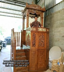Mimbar Masjid Kayu Ukir Jepara Jati Mewah