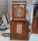 Mimbar Masjid Minimalis Modern Kayu Jati